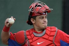 Carlos Ruiz warms up before a bullpen session