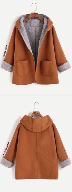 Khaki Contrast Sherpa Lining Single Button Hooded Coat