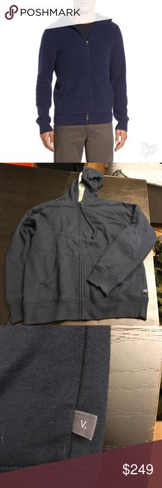 Vince Men's Sweatsuit Zip up Hoodie Sweatpants Pic 1 stock photo, other pics of actual item. Blue sweatshirt zip hoodie with waffle gray interior. Will consider breaking up suit. Items are not the same color anymore from wear. Pants were worn less than hoodie. Small stain on pant as shown in pic can be washed out. Vince Suits & Blazers