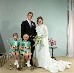 Bride, groom, and flower girls, c. 1960s.