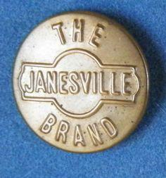 Bb  THE JANESVILLE BRAND Antique Brass OVERALL BUTTON Wobble shank