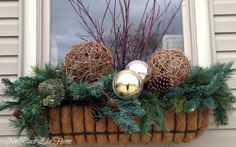 B's discussion on Hometalk. Winter Containers - Christmas/winter window box and urn ideaWanda B's discussion on Hometalk. Winter Containers - Christmas/winter window box and urn idea Winter Window Boxes, Christmas Window Boxes, Christmas Planters, Christmas Porch, Outdoor Christmas, Xmas, Christmas Tables, Nordic Christmas, Flower Decorations