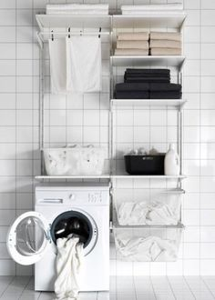 A laundry room storage solution made with ALGOT - IKEA Ikea Algot, Laundry Room Storage, Ikea Laundry, Laundry Room Storage Solutions, Laundry Storage, Laundry Mud Room, Room Organization, Ikea Laundry Room, Ikea Closet