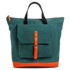 Women's Solid Canvas Backpack Handbag with NeonOrange Detail - Green