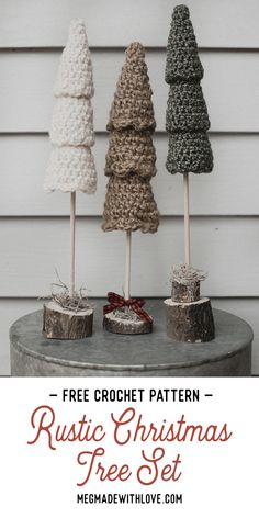 Crochet Pattern - Rustic Christmas Tree - Megmade with Love crochet patterns Free Crochet Pattern for the Rustic Christmas Tree Set — Megmade with Love Crochet Christmas Decorations, Small Christmas Trees, Christmas Tree Pattern, Crochet Christmas Ornaments, Holiday Crochet, Christmas Crafts, Christmas Christmas, Free Christmas Crochet Patterns, Christmas Thoughts