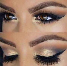 Beautiful gold and grey-navy smokey eye mua