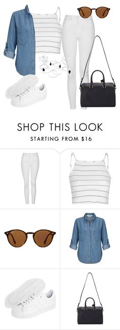 """Untitled #323"" by charlotte-down on Polyvore featuring Topshop, Glamorous, Ray-Ban, Miss Selfridge, adidas Originals and Yves Saint Laurent"