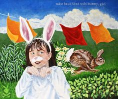 Tea towel take back that wild bunny girl by chintzcat on Etsy