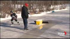 A grandfather living in the Colpitts Settlement outside Moncton found a time-saving way to play hockey with his grandson while still keeping the ice rink clean. Backyard Ice Rink, Outdoor Rink, Skate Party, Hockey Party, Skating Rink, Gifts For Photographers, New Brunswick, Winter Fun, Ice Hockey