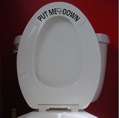 Put Me Down reminder for him boy Bathroom Toilet Vinyl Decal Sticker decor #t1