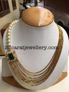 Chandra Haram with Pearls - Jewellery Designs