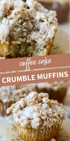 Soft and light coffee cake crumble muffins are topped with a crumbly, buttery streusel top overflowing as you pull them out of the oven! Cupcakes, Cupcake Cakes, Cupcake Recipes, Baking Recipes, Dessert Recipes, No Bake Desserts, Delicious Desserts, Yummy Food, Streusel Muffins
