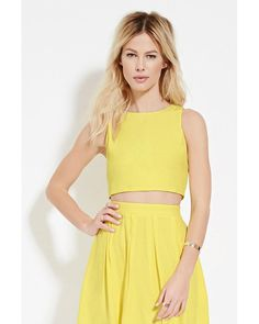 Forever 21 | Yellow Zip-back Crop Top | Lyst