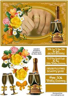 Golden Wedding Champagne on Craftsuprint designed by Hilary Hallas - An A5 tentfold card topper with extra layers and choice of sentiment tags featuring holding hands, champagne bottle and glasses and floral decoration. Matching insert available separately. - Now available for download!