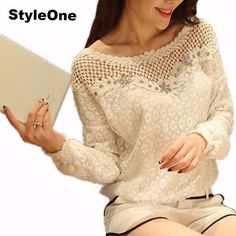 Blusas Femininas Spring Women Long Sleeve Fashion Lace Floral Patchwork Blouse Shirts Hollow Out Casual Tops Plus Size 6XL
