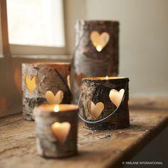 Wooden Bark Tea Light Holders & Lanterns...so cute!