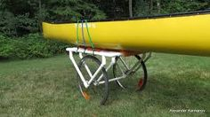 Canoes are heavy! This PVC canoe dolly will help you get your canoe from your car to the lake without the potential back problems. - Do this for the kayaks Canoe Camping, Canoe And Kayak, Kayak Fishing, Truck Camping, Fishing Stuff, Canoe Cart, Bike Cart, Kayak Cart, Pvc Pipe Crafts