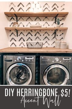 A cheap alternative to the hot commodity herringbone wallpaper out there! Laundry Room Remodel, Laundry Closet, Laundry Room Wallpaper, Wallpaper Accent Walls, Wallpaper Ideas, Laundy Room, Farmhouse Laundry Room, Laundry Room Inspiration, Laundry Room Design