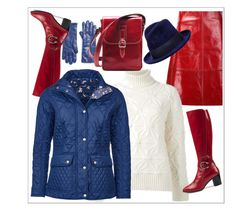 Navy red&white by amisha73 on Polyvore featuring moda, Dsquared2, Barbour, Creatures of the Wind, Gucci, Eugenia Kim and Saks Fifth Avenue Collection