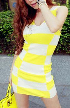 Checker Print Vest Dress