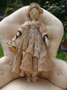 OLD WOODEN PEG DOLL NICELY DRESSED AND CARRYING A BASKET