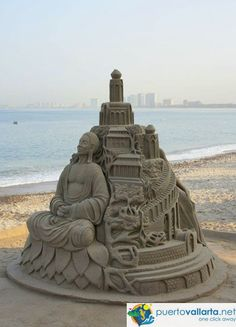 pirate ship Sand Sculptures | Puerto Vallarta, downtown view from El Panorama Restaurant San Pascual ...