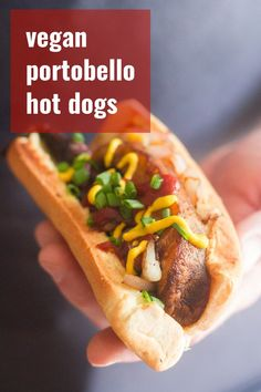 Portobello mushrooms make awesome vegetarian hot dogs! Thick mushroom slabs are grilled up with smoky seasonings, stuffed into buns and piled high with toppings to make these vegan dogs. About 20 minutes to make, and perfect for lunch or dinner! Vegan Lunch Recipes, Delicious Vegan Recipes, Vegan Foods, Vegan Dishes, Veg Recipes, Vegan Keto, Sausage Recipes, Vegan Meals, Recipies