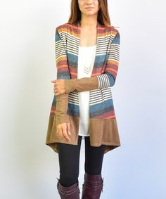 Another great find on #zulily! éloges Camel Stripe Open Cardigan by éloges #zulilyfinds