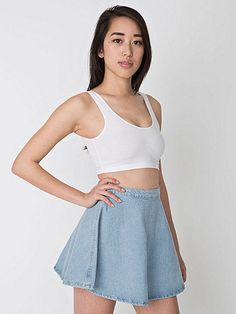 A sexy circle skirt in Denim, with a zipper and button closure that can be worn in the back or to the side. American Apparel Bodysuit, American Apparel Jeans, Denim Mini Skirt, Mini Skirts, Jean Skirt, Denim Shorts, Mini Skater Dress, Sleeveless Crop Top, Light Denim