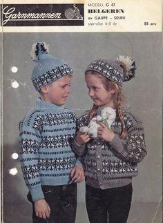 Helgeren G 47 Norwegian Knitting, Baby Barn, Color Combinations, Knitting Patterns, Winter Hats, Crochet Hats, Stitch, Kids, Crafts