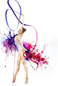 Gymnastics Gymnastics Tricks, Gymnastics Posters, Gymnastics Pictures, Artistic Gymnastics, Rhythmic Gymnastics, Ballet Drawings, Dancing Drawings, Cute Drawings, Gymnastics Backgrounds