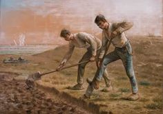 Two Men Turning over the Soil 1866 by Jean Francois Millet