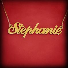 Name Necklace Gold name Chain Name Gold Nameplate Necklace Name Pendant Gold Nameplate Christmas Gift Stephanie Name Necklace Gold Necklace Gold Name Necklace, Nameplate Necklace, Monogram Necklace, Name Jewelry, Jewelry Necklaces, Personalized Jewelry, Gold Pendant, Bridesmaid Gifts, Gold Chains