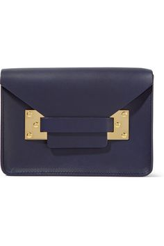 Navy leather (Cow) Tab-fastening front flap Designer color: French Navy Comes with dust bag Weighs approximately 1.1lbs/ 0.5kg Made in Italy