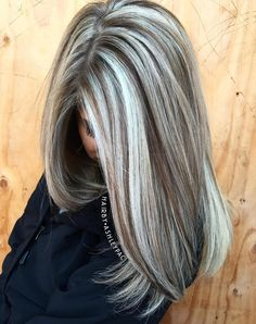 Gray Hair With Brown Highlights #beauty