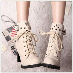 Colorful Shoes - Studded Buckled Lace-Up #Boots