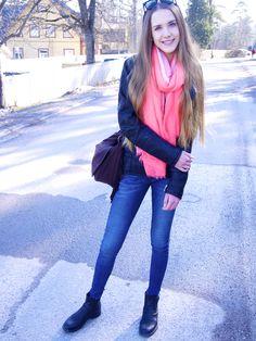 Spring outfit  #spring #outfit #leatherjacket #fringebag #pink