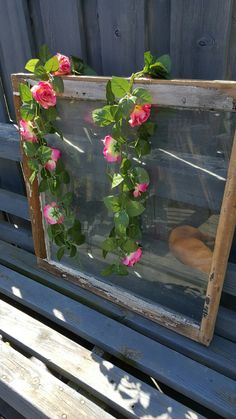 Vintage Old Weathered Window Frame Single Pane Old Reclaimed Window Garden Decor Salvaged Antiques Country Outdoor Decor 766