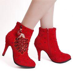 $61.19 Dresswe.com SUPPLIES Elegant Winter  Red Suede Beading Wedding Shoes #Dresswe #fashion #Cute #women #elegant