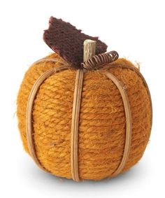Orange Twine Pumpkins w/Leaf