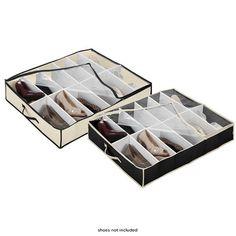 2-Pack: Dorm Room Under-Bed 24 Pairs Shoe Organizer $25 - NoMoreRack