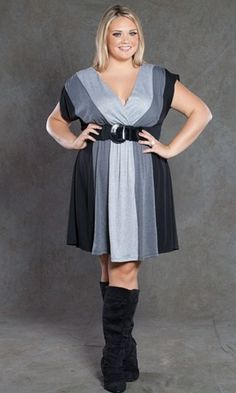 plus size color block dress at www.curvaliciousclothes.com BELT INCLUDED