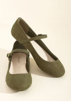 Classy in a Flash Flat in Olive. Bring new life to time-tested looks with these faux-suede flats! #green #modcloth