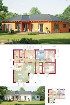 Einfamilienhaus BUNGALOW Mediterran * Haus Evolution 111 V3 Bien Zenker *  Winkelbungalow Modern Walmdach Grundriss Modern