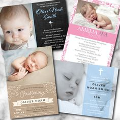 Christening Invitations with Envelopes and Photo - Baptism Invites - Boy or Girl