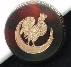 Victorian Pique Tortoiseshell Pin with Greek Key Rooster and Crescent Moon