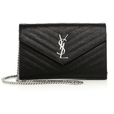 Saint Laurent Monogram Matelasse Leather Chain Wallet (€1.330) ❤ liked on Polyvore featuring bags, wallets, monogram wallet, genuine leather credit card holder wallet, snap closure wallet, yves saint laurent bags and leather credit card holder wallet