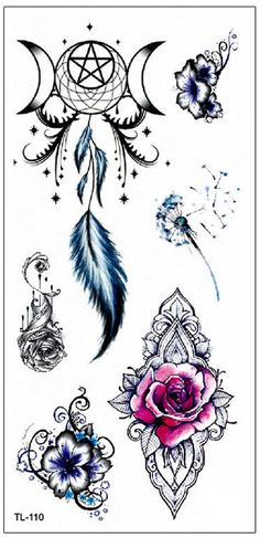 Watercolor Rose Mandala Dreamcatcher Feather Star Moon Temporary Tattoo Ideas fo… – New Tattoo Models Hawaiianisches Tattoo, Hand Tattoo, Tattoo Hals, Temp Tattoo, Tatoo Art, Tattoo Drawings, Tattoo Lyrics, Mandala Tattoo Design, Dotwork Tattoo Mandala