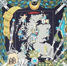 """A vintage Hermès silk scarf """"Scotland"""" in neon-blue, grey and yellow-green…"""