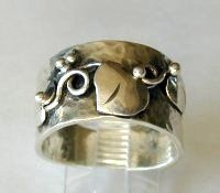 wideband silver vine ring